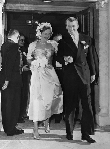 Jimmy Stewart And Bride Leave Church
