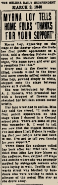 Marlow Theatre Myrna Loy Clipping March 2 1940