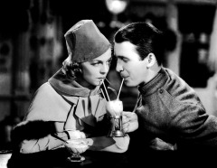 Prod DB © Loew's - Metro-Goldwyn-Mayer / DR L'ANGE IMPUR (THE SHOPWORN ANGEL) de H.C. Potter 1938 USA avec Margaret Sullavan et James Stewart uniforme, soldat, couple, boire a la paille, une verre pour deux