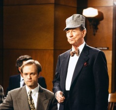 "FRASIER -- ""Crane vs. Crane"" Episode 19 -- Pictured: (l-r) David Hyde Pierce as Doctor Niles Crane, Donald O'Connor as Harlow Stafford -- Photo by: Gale M. Adler/NBCU Photo Bank"