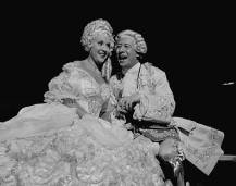 Actor Bert Lahr as Louix XV, moving in on actress Ethel Merman, as Madame Du Barry, his mistress who is bent on rebuffing his advances in the Broadway production of Cole Porter's new musical Du Barry Was a Lady. (Photo by George Karger/Pix Inc./The LIFE Images Collection/Getty Images)
