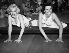 Marilyn Monroe and Jane Russell Entering Hollywood Hall of Fame