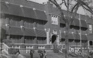 The second Fargo Central High School as it appeared in the early 1960s. It was heavily damaged in an April 1966 blaze and eventually razed